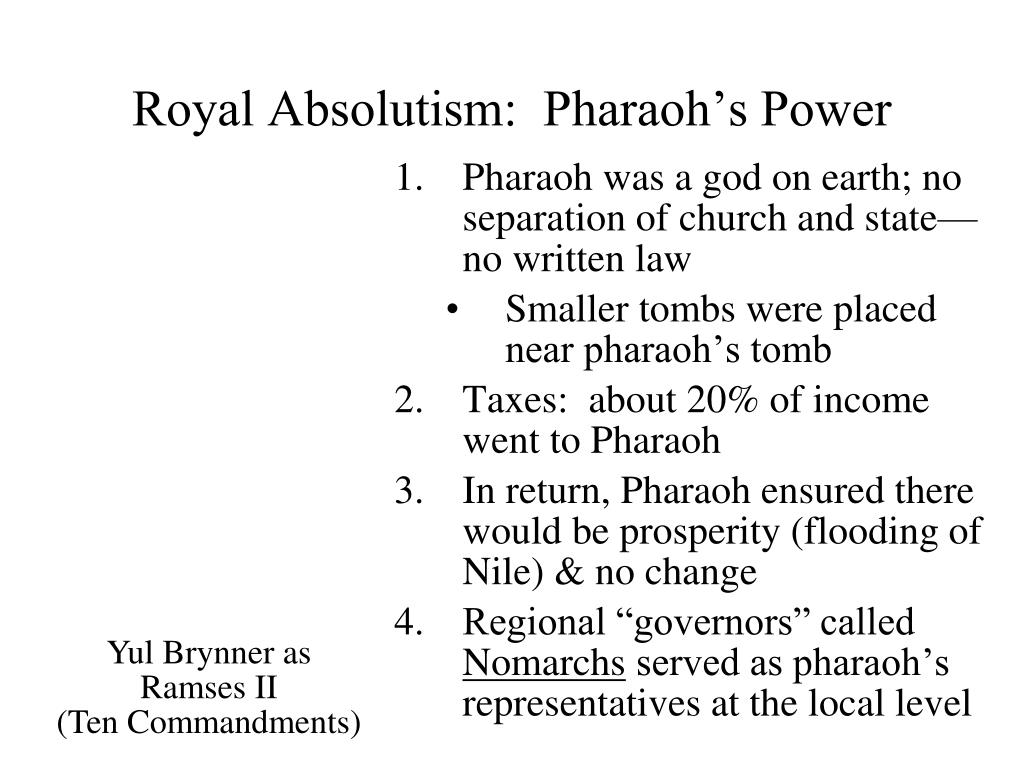 Royal Absolutism:  Pharaoh's Power