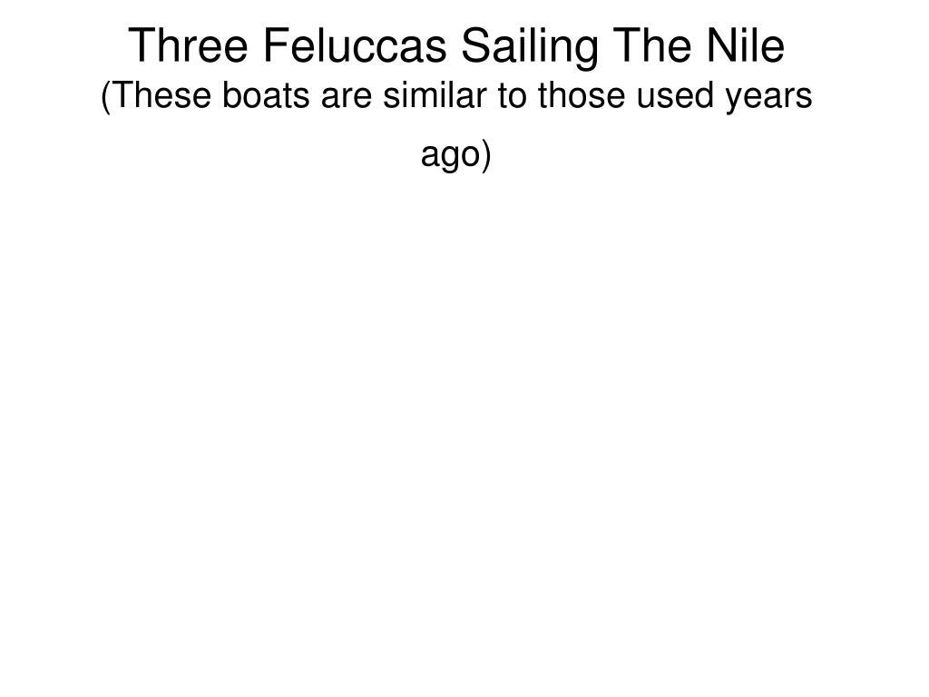 Three Feluccas Sailing The Nile