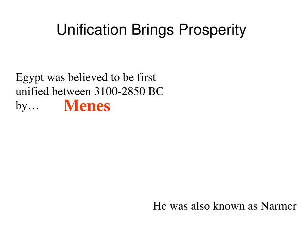 Unification Brings Prosperity
