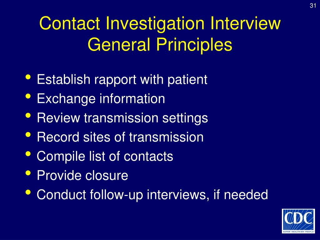 Contact Investigation Interview General Principles
