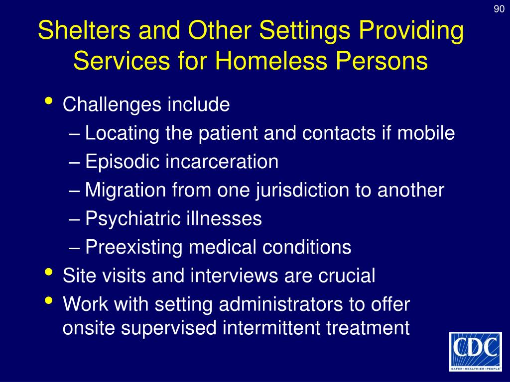 Shelters and Other Settings Providing Services for Homeless Persons