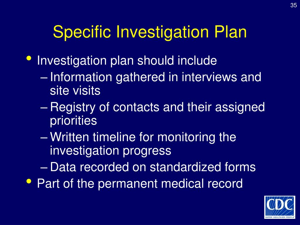 Specific Investigation Plan