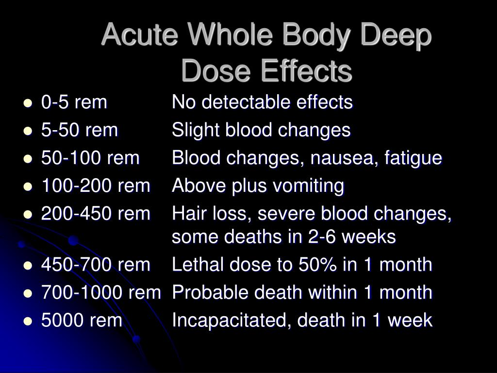 Acute Whole Body Deep Dose Effects