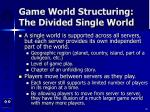 game world structuring the divided single world