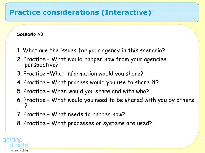 Practice considerations (Interactive)