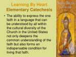 learning by heart elementary catechesis