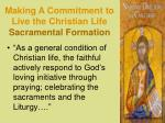 making a commitment to live the christian life sacramental formation