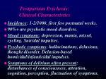 postpartum psychosis clinical characteristics