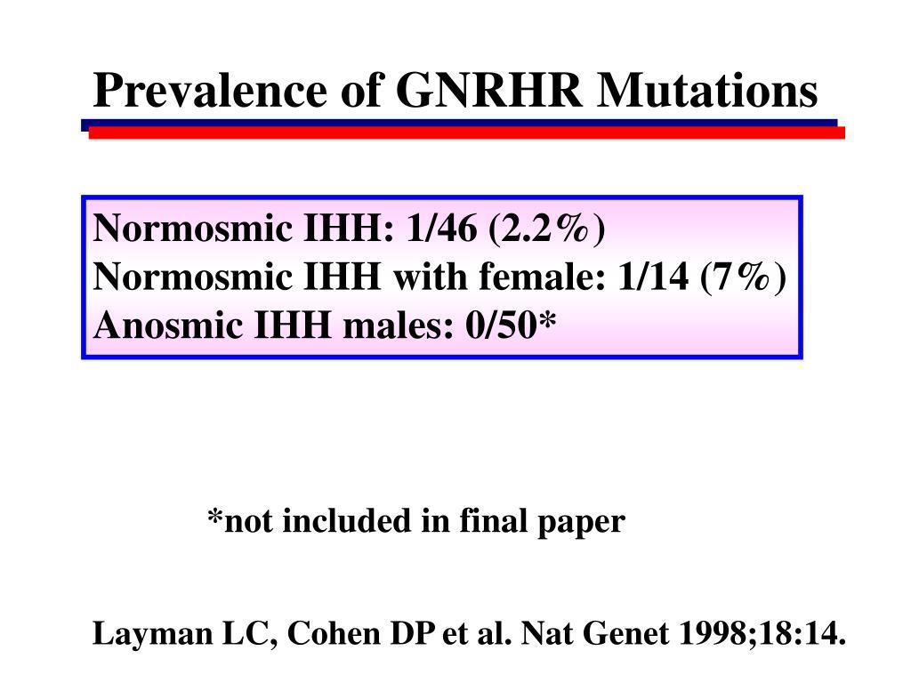 Prevalence of GNRHR Mutations