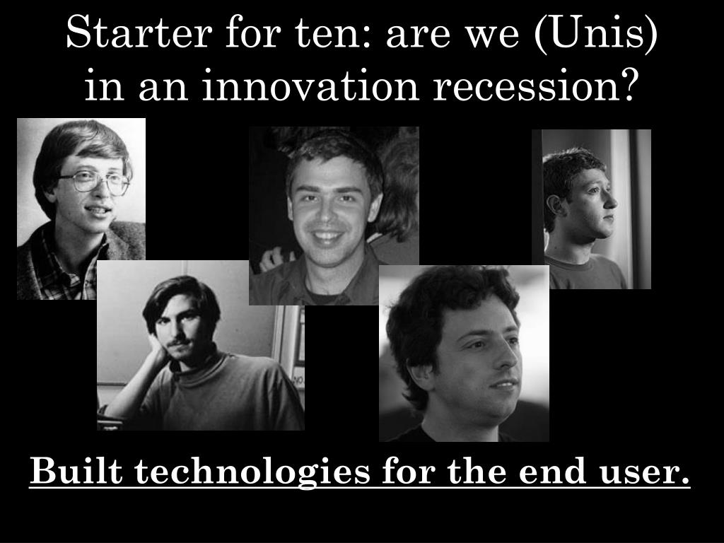 Starter for ten: are we (Unis) in an innovation recession?
