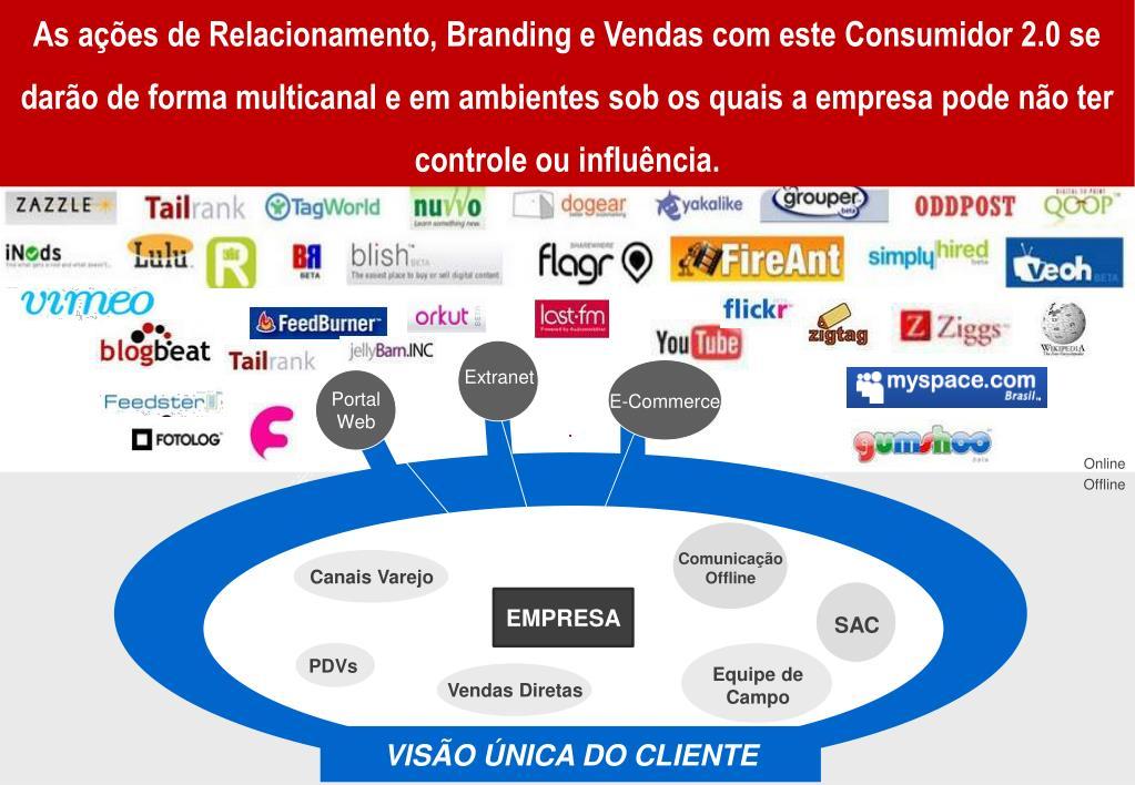 As ações de Relacionamento, Branding e Vendas com este Consumidor 2.0 se darão de forma multicanal e em ambientes sob os quais a empresa pode não ter controle ou influência.