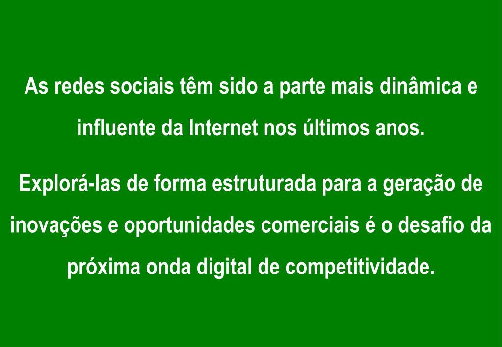 As redes sociais têm sido a parte mais dinâmica e influente da Internet nos últimos anos.