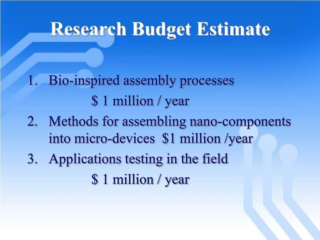 Research Budget Estimate