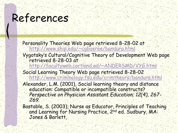 bastable learning theories Learning theory applied to health care the purpose of this paper is to discuss a learning theory with application to a teaching-learning situation in health care this paper will focus on the social learning theory and its application to the teaching-learning process in nursing.