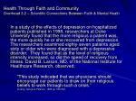 health through faith and community overhead 3 2 scientific connections between faith mental heath33