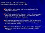 health through faith and community overhead 4 2 brief history of christian prayer
