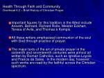 health through faith and community overhead 4 2 brief history of christian prayer53