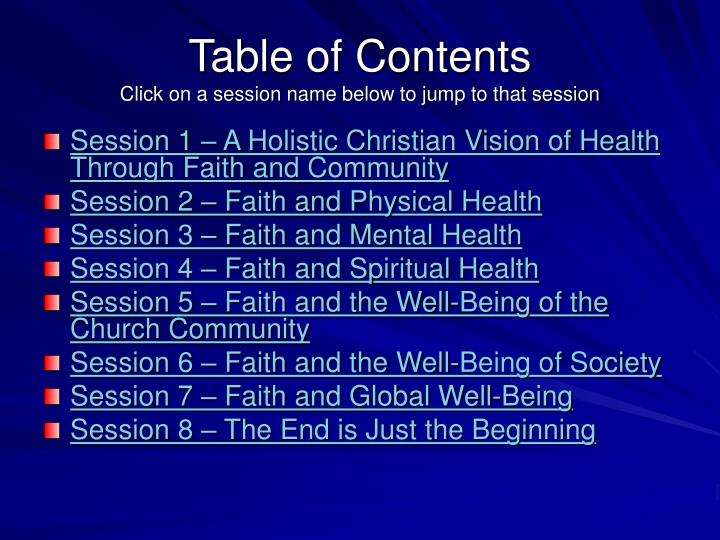 Table of contents click on a session name below to jump to that session