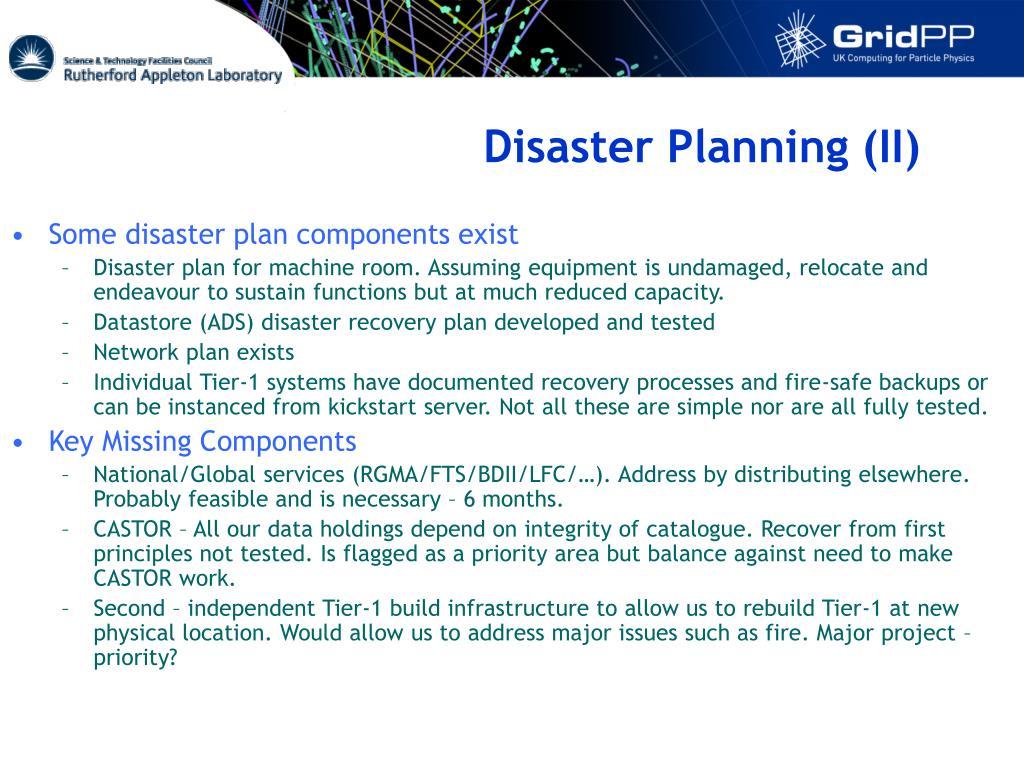Disaster Planning (II)