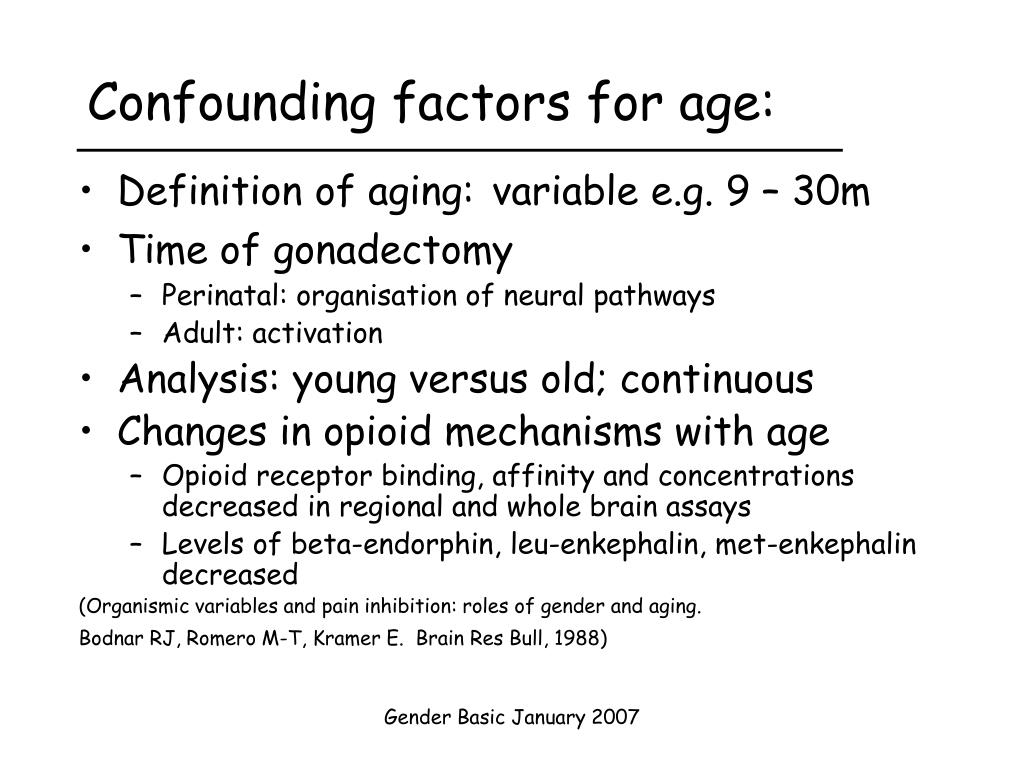 Confounding factors for age: