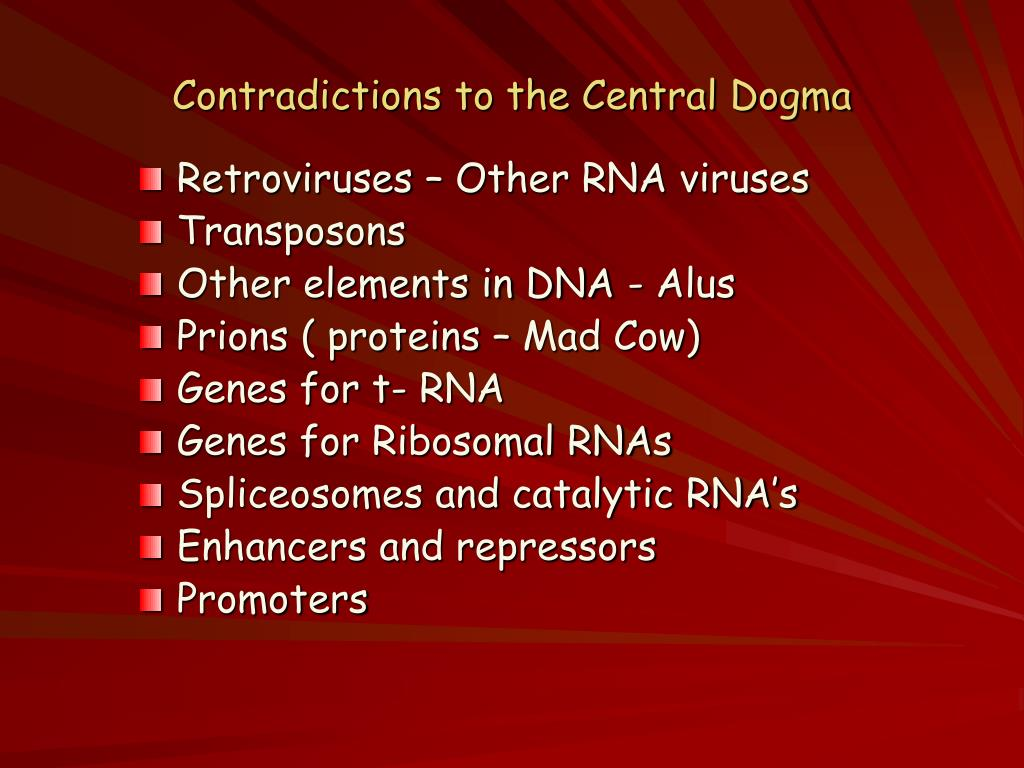 Contradictions to the Central Dogma
