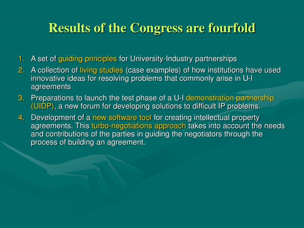 Results of the Congress are fourfold