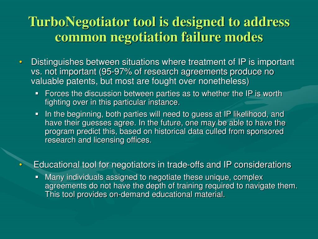 TurboNegotiator tool is designed to address common negotiation failure modes