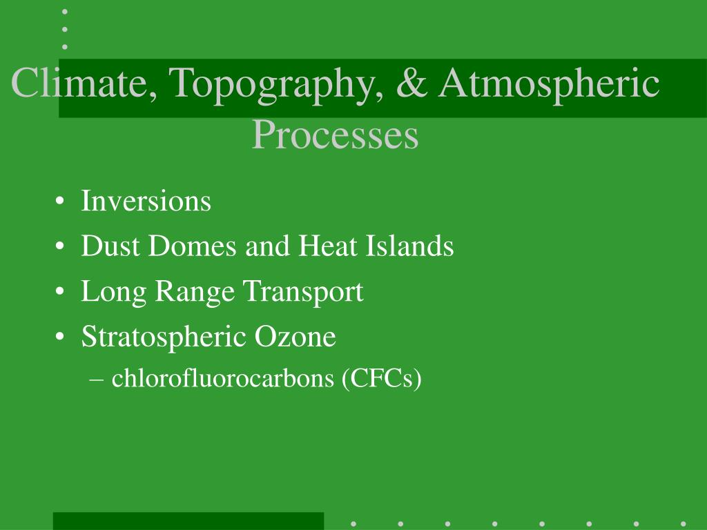 Climate, Topography, & Atmospheric Processes
