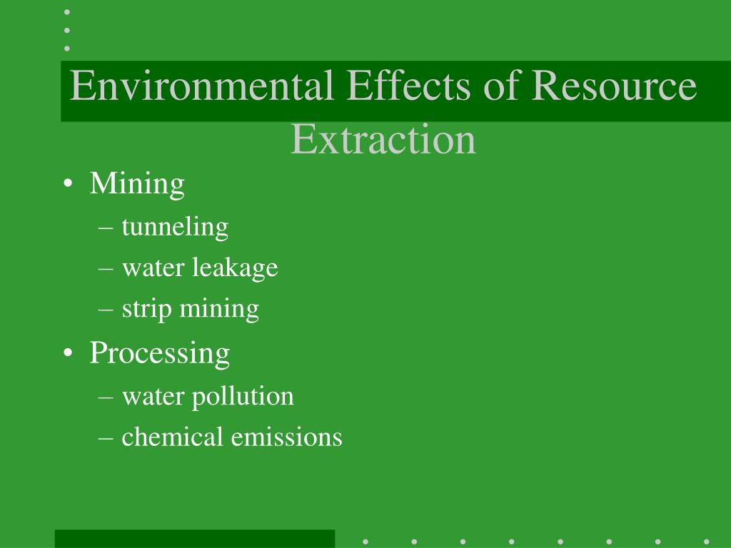 Environmental Effects of Resource Extraction