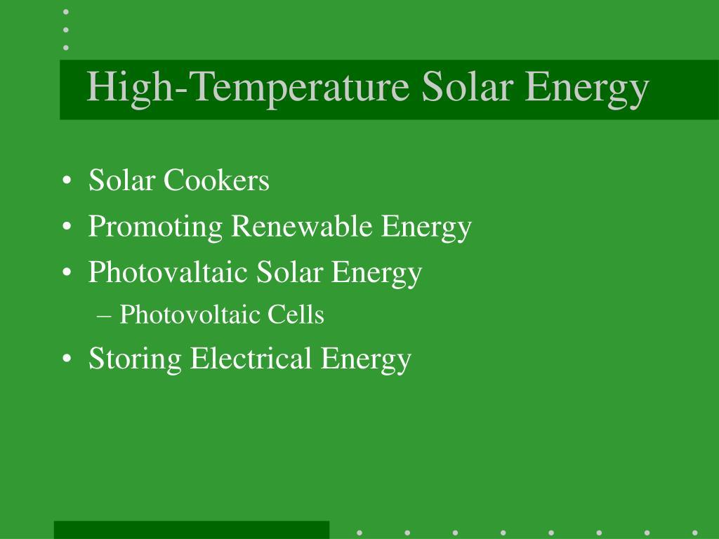 High-Temperature Solar Energy