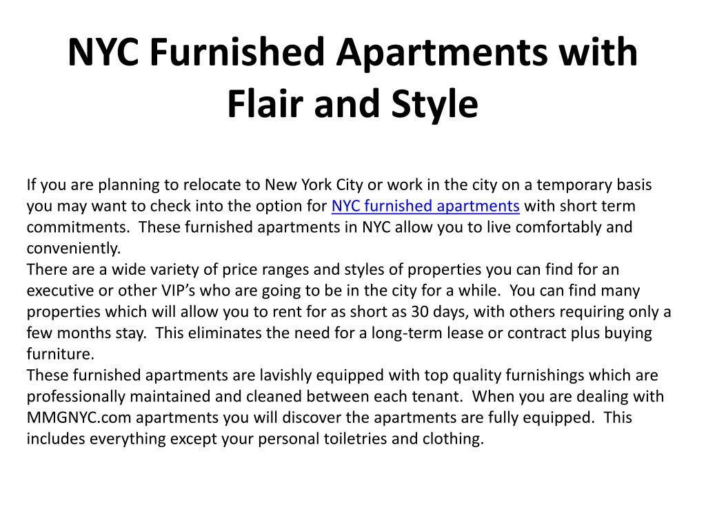 nyc furnished apartments with flair and style