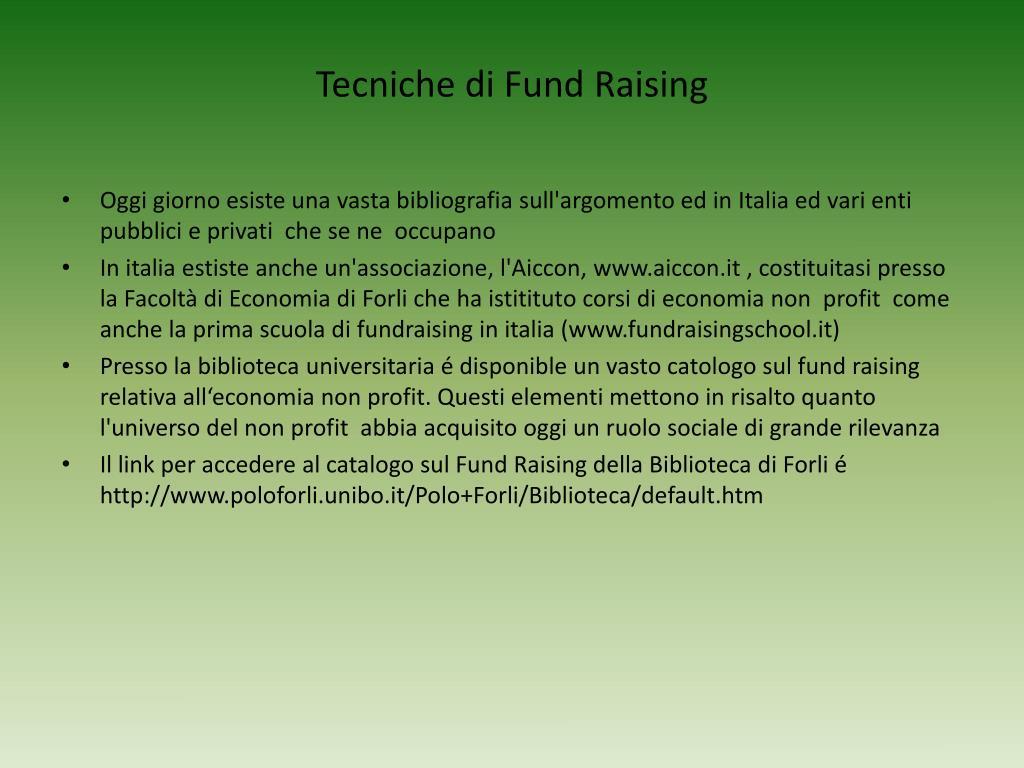 Tecniche di Fund Raising