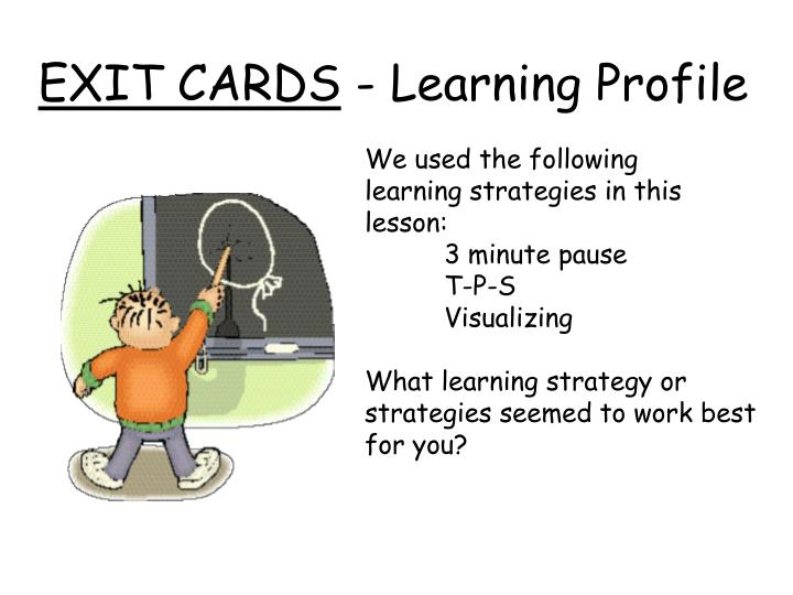 Exit cards learning profile