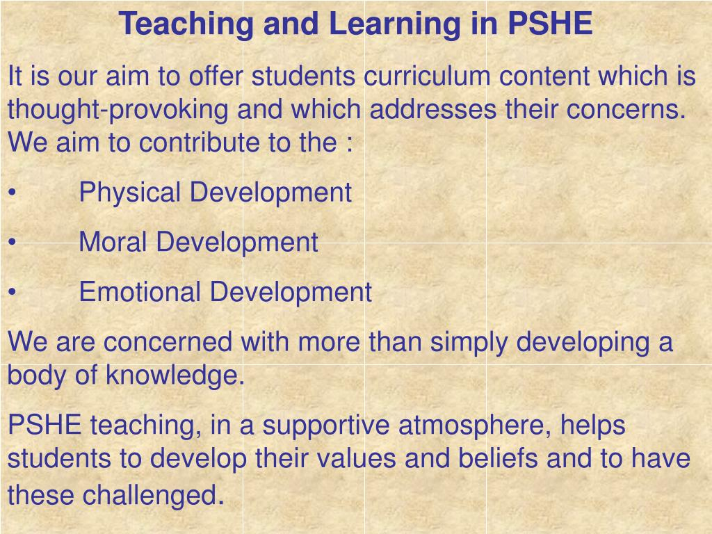 Teaching and Learning in PSHE