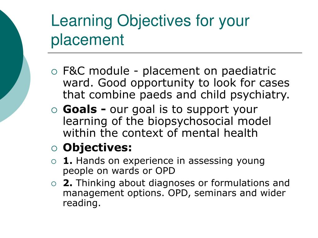 Learning Objectives for your placement