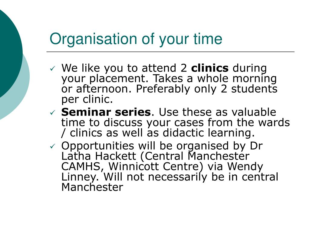 Organisation of your time