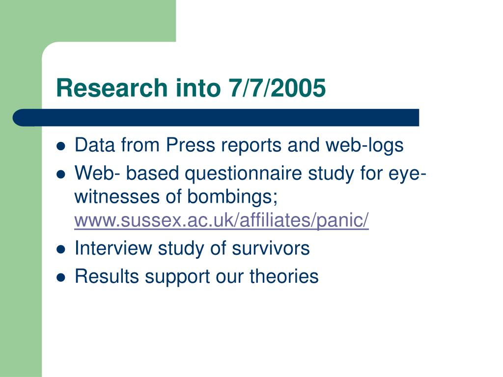 Research into 7/7/2005