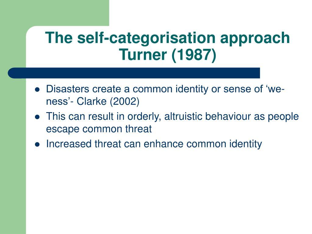 The self-categorisation approach