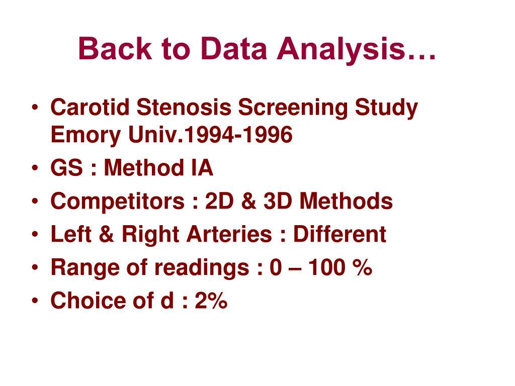 Back to Data Analysis…