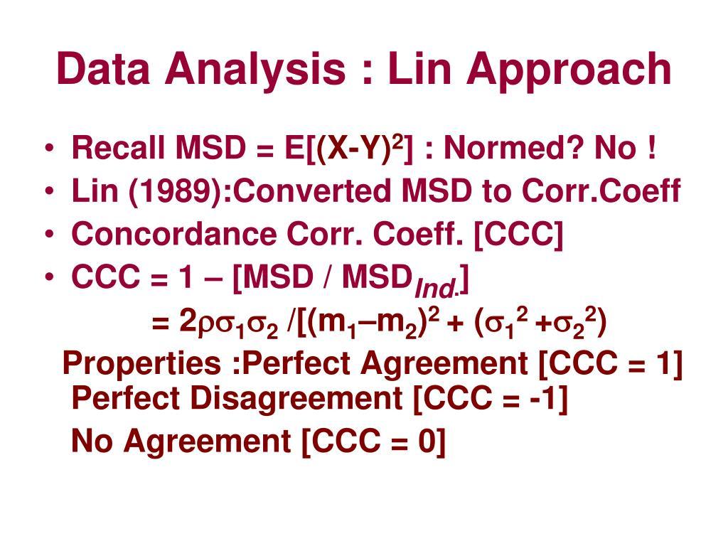 Data Analysis : Lin Approach