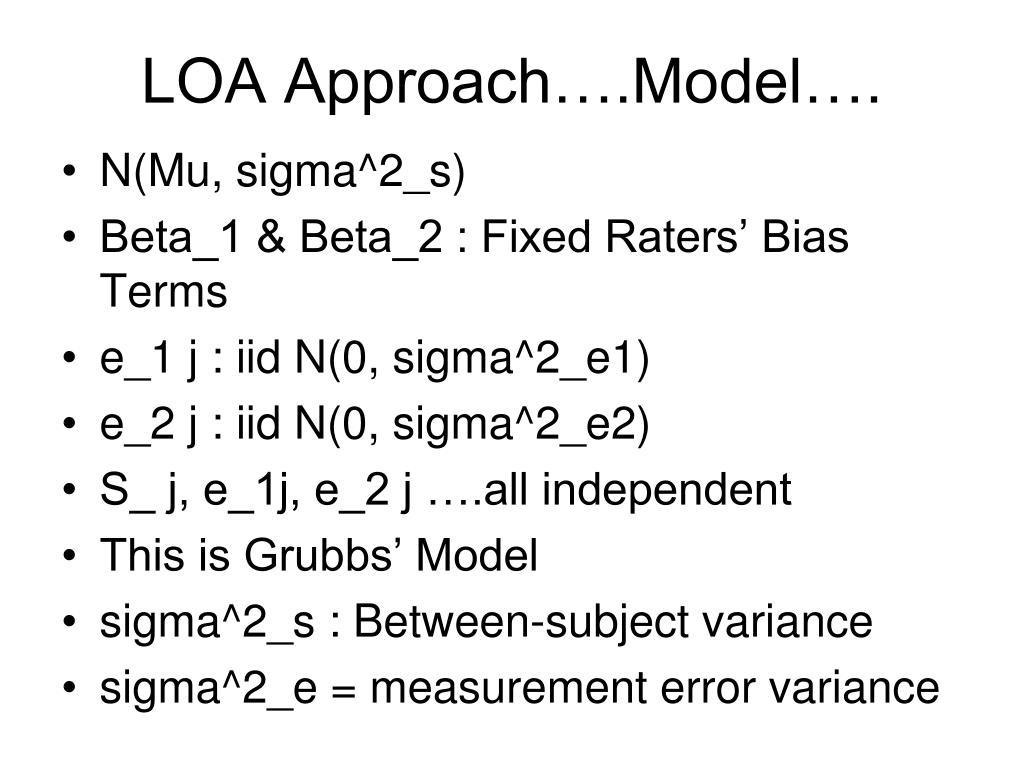 LOA Approach….Model….
