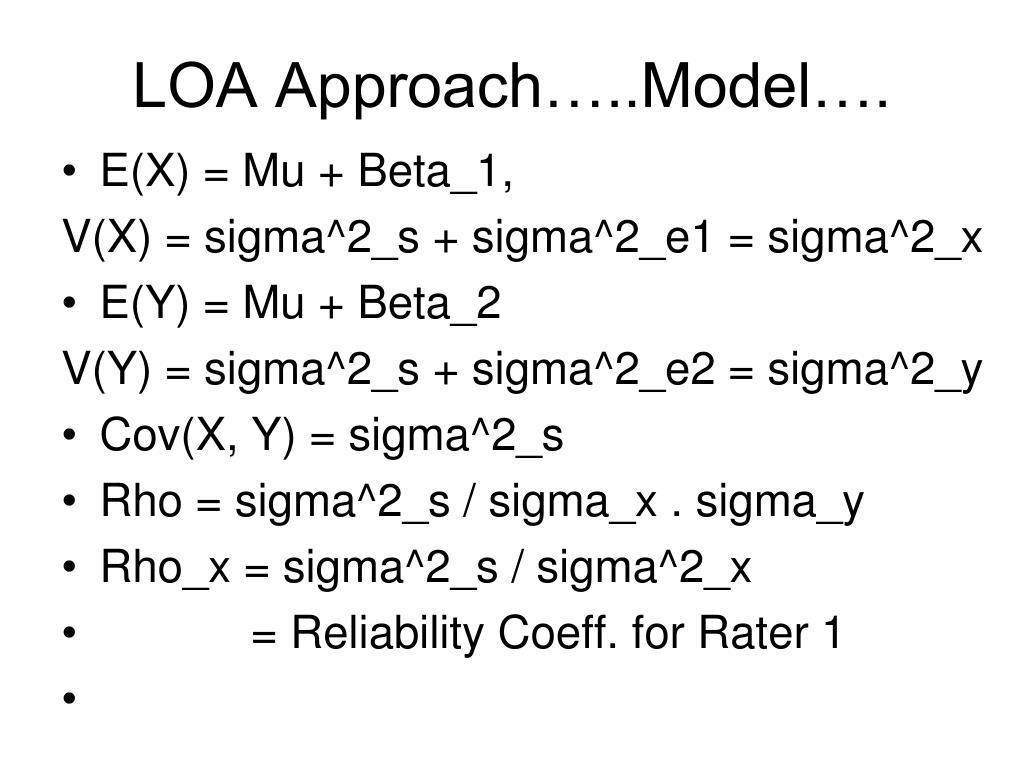 LOA Approach…..Model….
