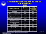 asian chinese travelers to the u s top activities 2004