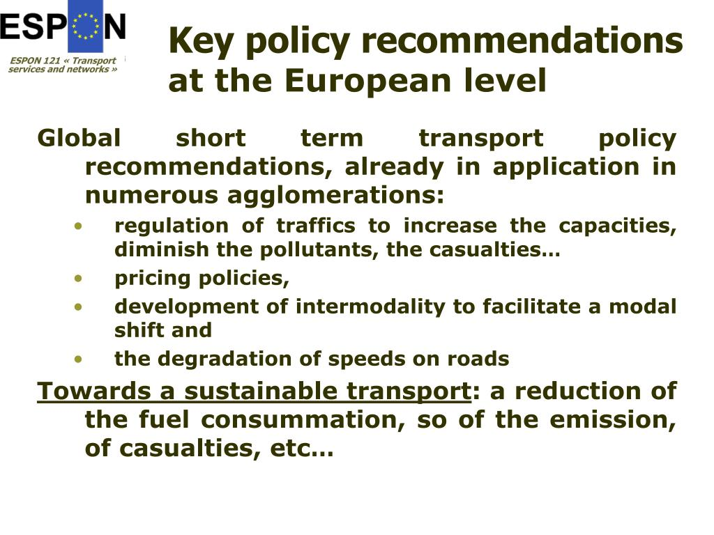 Key policy recommendations