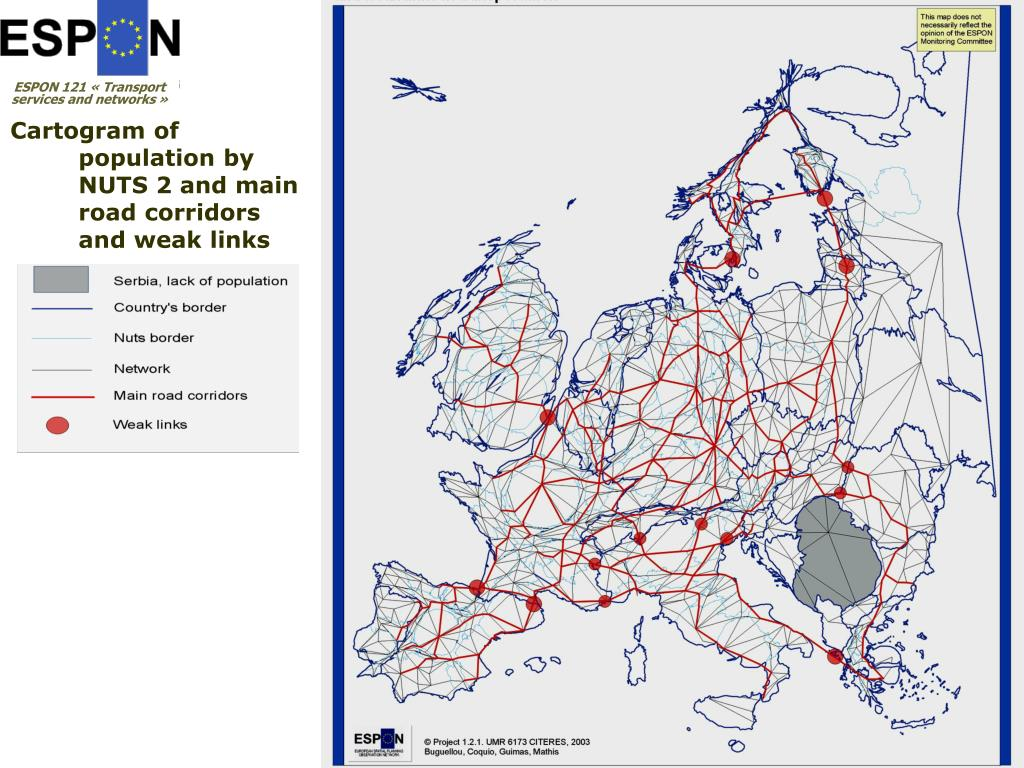 Cartogram of population by NUTS 2 and main road corridors and weak links
