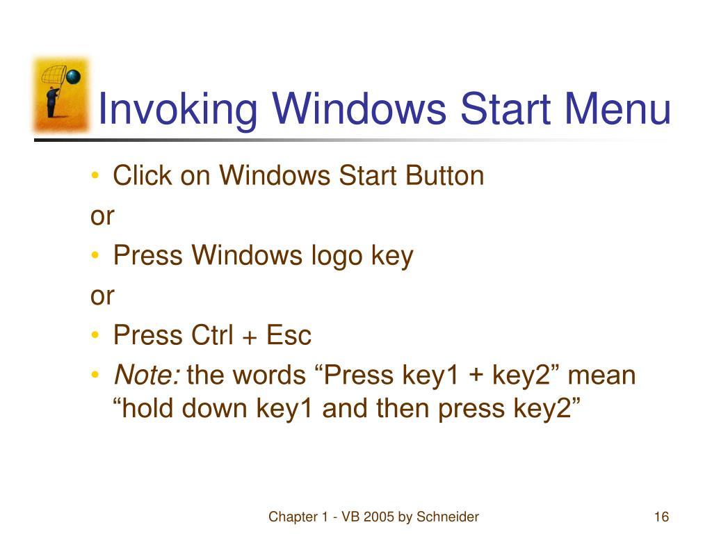 Invoking Windows Start Menu