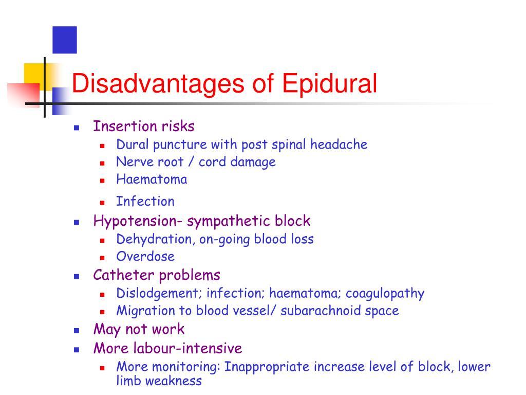 Disadvantages of Epidural