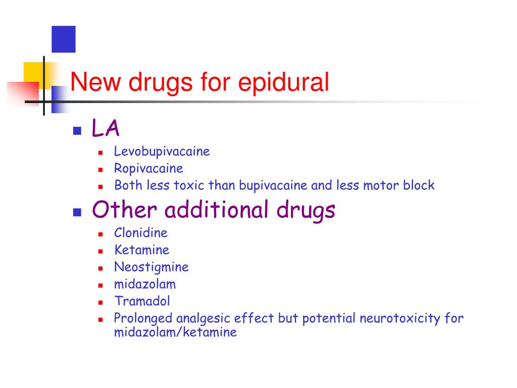 New drugs for epidural