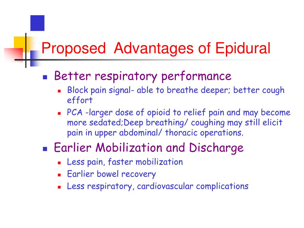 Proposed  Advantages of Epidural
