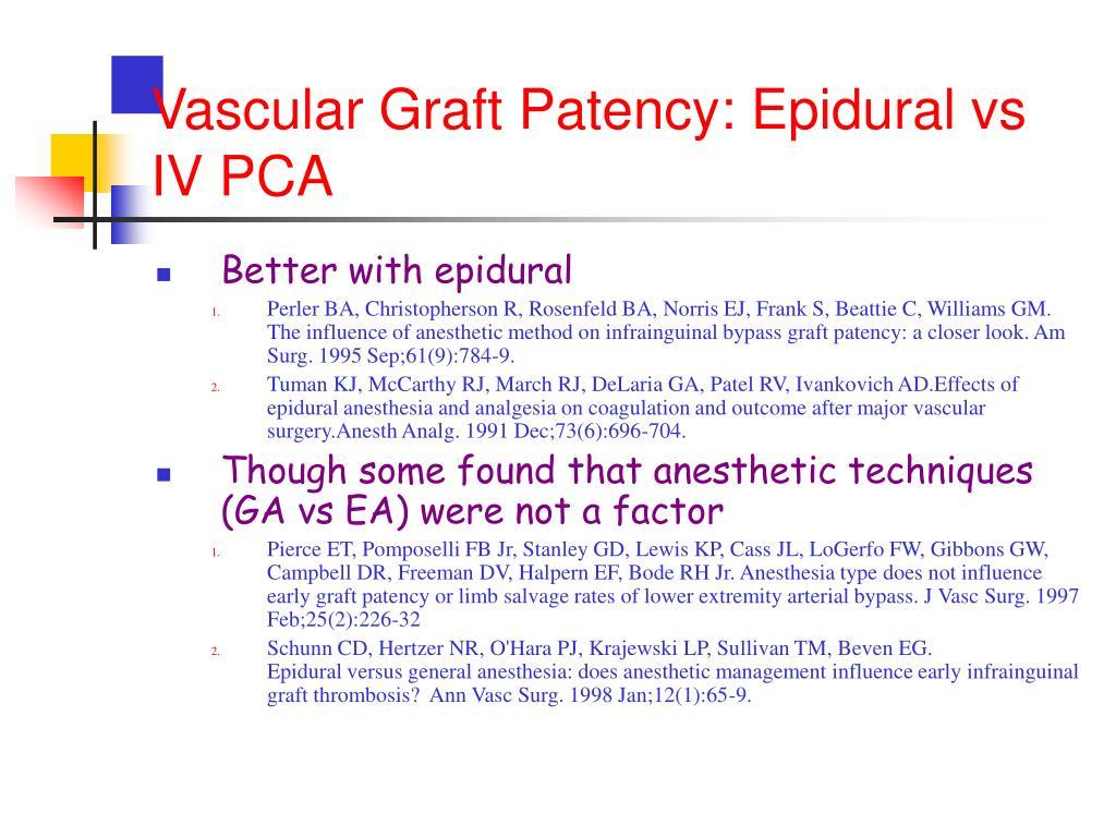 Vascular Graft Patency: Epidural vs IV PCA